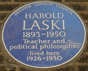 Harold Laski - Blue plaque, 5 Addison Bridge Place, West Kensington, London