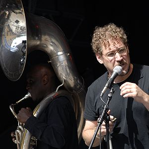 Hazmat Modine - Singer Wade Schuman of Hazmat Modine performing at Stockholm JazzFest09, with tuba player Joe Daly (left)