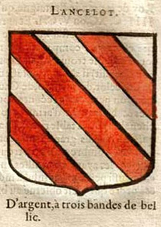 Lancelot - The arms attributed to Lancelot: argent with three bendlets gules