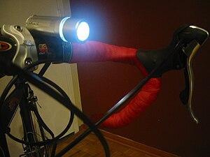 Bicycle lighting - Headlight mounted on the handle bar of bicycle