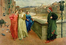 On a bridge a man dressed in black (Dante) looks at three women walking along a street; the central women (Beatrice) looks straight ahead, while the other two look towards Dante