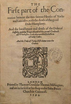 Chronology of Shakespeare's plays - 1594 quarto of The First part of the Contention