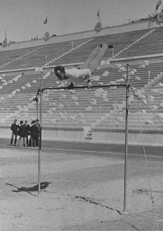 Gymnastics at the 1896 Summer Olympics – Men's horizontal bar - Image: Herman Weingaertner on horizontal bar 1896 Summer Olympics