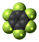 Space-filling model of hexafluorobenzene