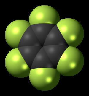 Hexafluorobenzene - Image: Hexafluorobenzene 3D spacefill