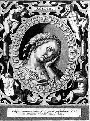 Acedia - Acedia, engraving by Hieronymus Wierix, 16th century