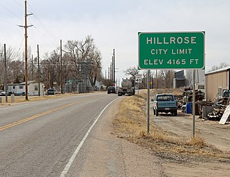 Hillrose, Colorado - Entering from the northeast.