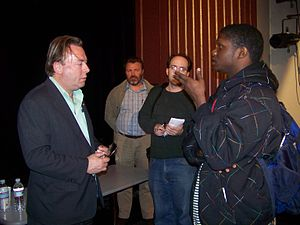 Christopher Hitchens - Hitchens after a talk at The College of New Jersey in March 2009