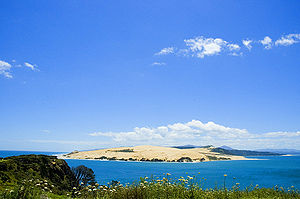 Hokianga - Mouth of the Hokianga Harbour, with the Tasman Sea to the left and Hokianga Harbour to the right