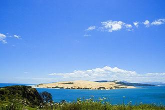 Hokianga - Mouth of the Hokianga Harbour, with the Tasman Sea to the left and Hokianga Harbour to the right