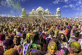 The Holi Festival in March 2013 at the Sri Sri Radha Krishna Temple in Spanish Fork, Utah.