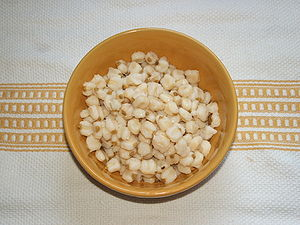 Hominy - A bowl of cooked hominy.