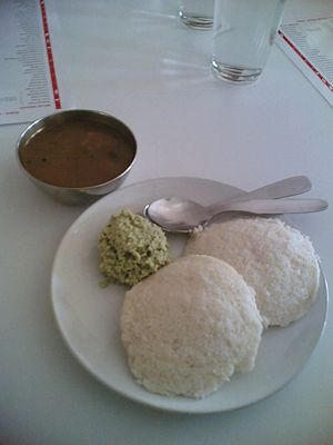Udupi cuisine - Idli served in an Udupi restaurant