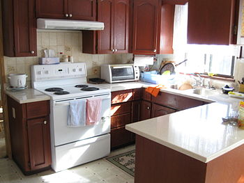 English: Our humble house kitchen with updated...