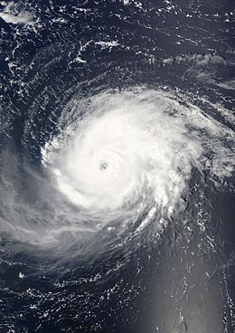 A view of Hurricane Fabian from Space on September 1, 2003. The intense Category 4 storm is located about 190 miles north-northeast of Barbuda. The storm's eye, visible near the center of the image, is over the open waters of the Atlantic Ocean.