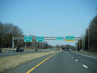 Interstate 287 - I-287 northbound at I-78 in Bedminster