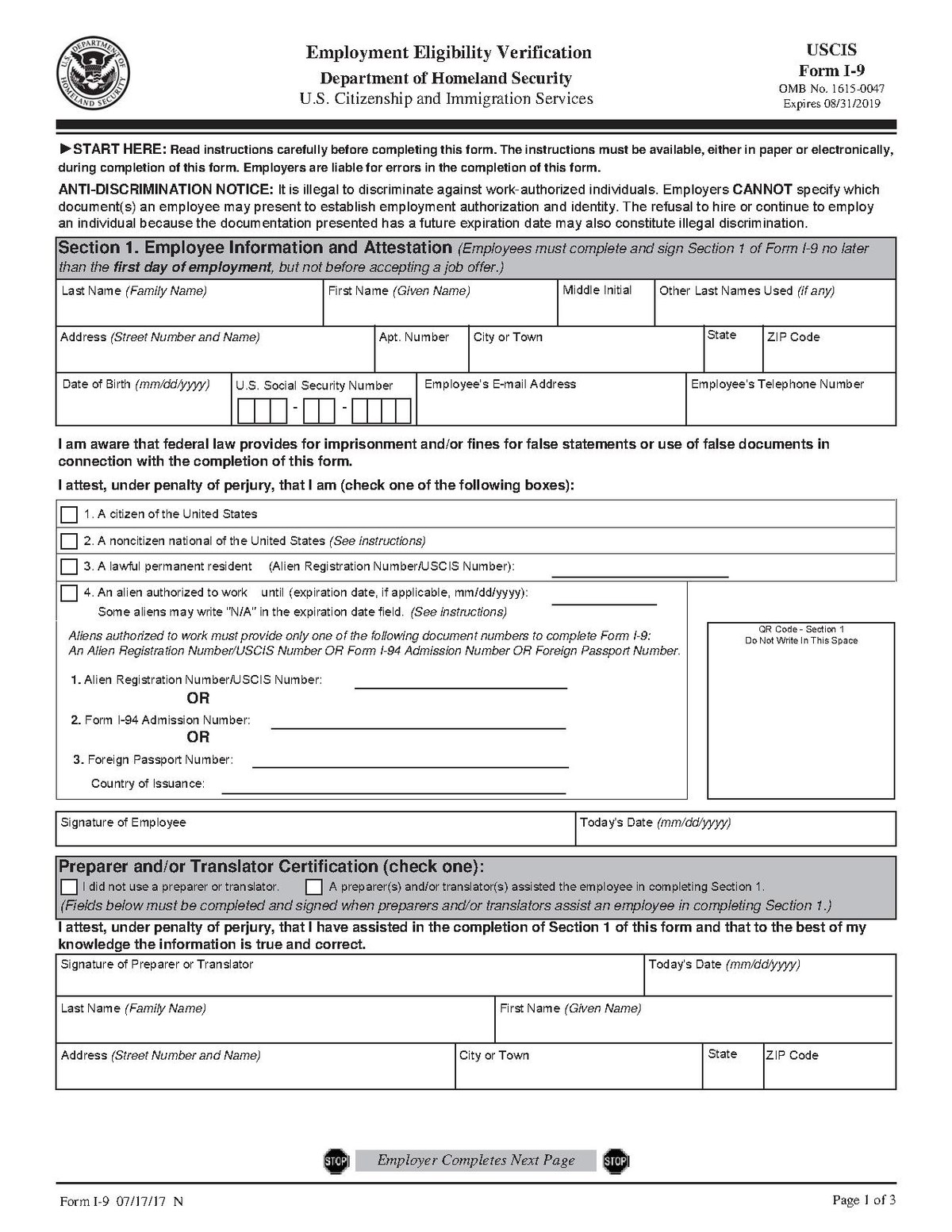 graphic relating to Printable I9 Form named Style I-9 - Wikipedia