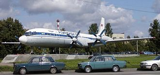 Ilyushin Il-18 - Il-18 on display at Sheremetyevo International Airport