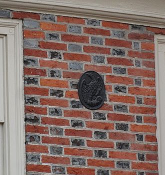 Insurance Company of North America - INA firemark circa 1801–1830, as found on a house in the Society Hill neighborhood of Philadelphia, 2013.