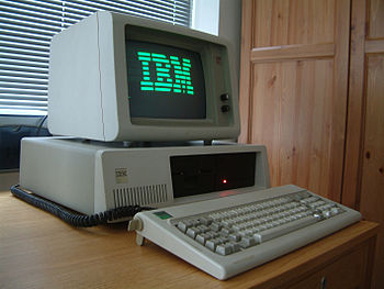 IBM PC XT with green monochrome phosphor scree...
