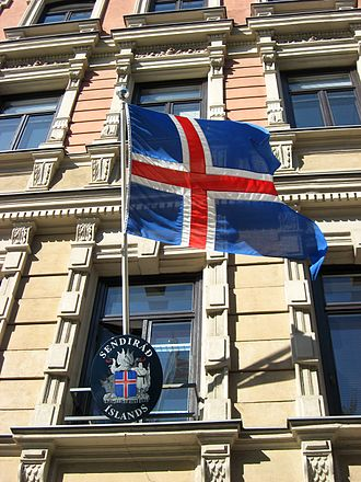 Flag of Iceland - Icelandic state flag at the Embassy in Helsinki.
