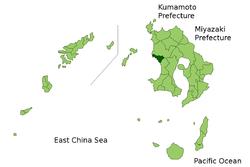 Vị trí của Ichikikushikino ở Kagoshima