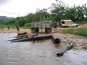 Illegal logging in Madagascar - Rosewood removed from Marojejy National Park by waterway in 2005