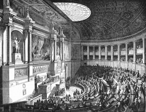 Conference hall of the chamber of deputies at the Palais Bourbon Illustrirte Zeitung (1843) 08 116 1 Der Sitzungssaal der Deputirtenkammer in Paris.PNG