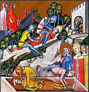 Vazul - The blinding of Vazul (above), as depicted in the Illuminated Chronicle