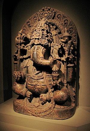 Ganesha - A 13th-century statue of Ganesha, Hoysala-style, Karnataka