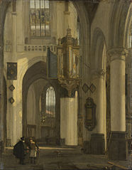 Interior of a Protestant Gothic church with motifs of the Oude and the Nieuwe Kerk in Amsterdam