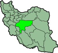 Map of Iran with इस्फ़हान highlighted.