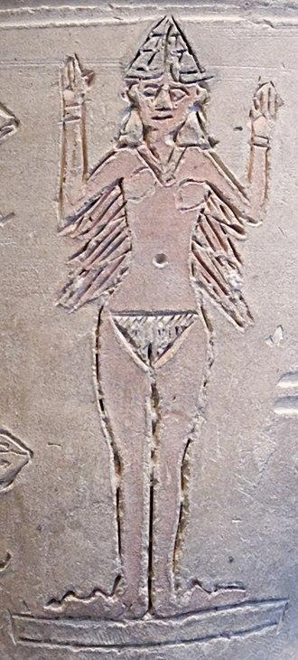 Ancient Mesopotamian religion - Image: Ishtar vase Louvre AO17000 detail