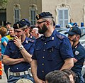 Italian police officers watching Wikimania 2016 closing ceremonies.jpg