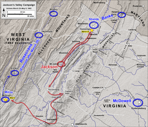 First Battle of Kernstown - Image: Jackson's Valley Campaign March 23 May 8, 1862