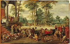 Jan Brueghel the Younger's A Satire of Tulip Mania (ca. 1640) depicts speculators as brainless monkeys in contemporary upper-class dress. The Tulip Mania, of the 1630s, is often considered by many as the first recorded economic bubble (also known as asset bubble or speculative bubble) in history.
