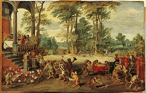 Tulip mania - A Satire of Tulip Mania by Jan Brueghel the Younger (ca. 1640) depicts speculators as brainless monkeys in contemporary upper-class dress. In a commentary on the economic folly, one monkey urinates on the previously valuable plants, others appear in debtor's court and one is carried to the grave.