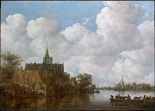 River Landscape with a Ferry and a Church