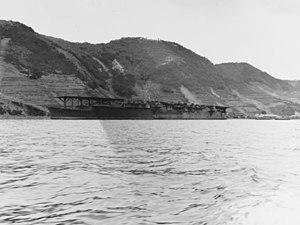 Japanese aircraft carrier Ryūhō anchored at Kure, Japan, on 9 October 1945 (80-G-351365).jpg