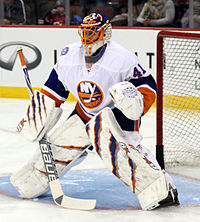 Jaroslav Halak in front of his goalie net
