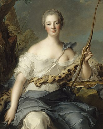 Madame de Pompadour - Madame de Pompadour as Diana the Huntress, portrait by Jean-Marc Nattier