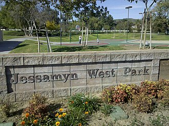 Yorba Linda, California - Jessamyn West Park sign on Yorba Linda Blvd.