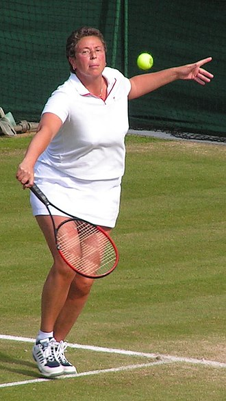 Jo Durie - Durie playing in the Ladies' Invitation Doubles final at Wimbledon in 2004