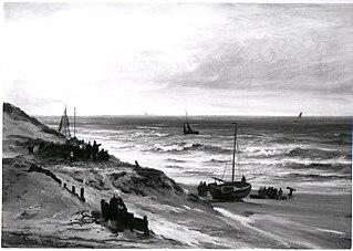 Het strand bij Scheveningen bij regenachtig weer