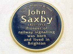 Photo of John Saxby blue plaque