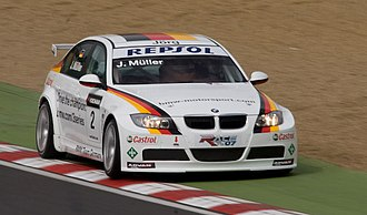 Jörg Müller - Müller driving the BMW 320si WTCC car at Brands Hatch in 2008.