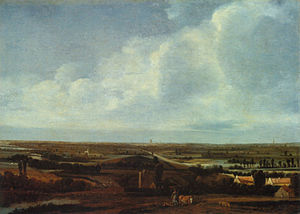 Joris van der Haagen - Joris van der Haagen, Flat landscape with town in the distance, oak wood, 38,1 x 52,9 cm, Gemäldegalerie, Berlin