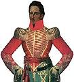 José María Córdova usando la chaqueta roja de guerra, para infundir terror en el enemigo y para ocultar la sangre, la llevaba puesta José María Córdova el día que peleo en La batalla de El Santuario el 17 de octubre de 1829.jpg