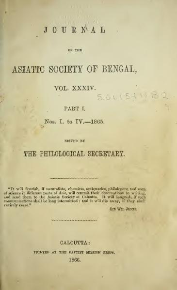 File:Journal of the Asiatic Society of Bengal Vol 34, Part 1.djvu