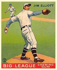 A baseball card image of a man in a white baseball uniform and cap standing atop a dirt mound on a grass field and throwing a baseball with his left hand
